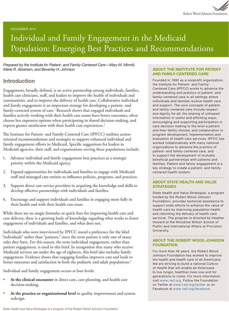 Individual and Family Engagement in the Medicaid Population: Emerging Best Practices and Recommendations (2014) cover