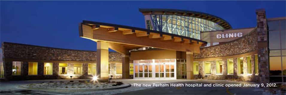 Exterior of Perham Health hospital and clinic
