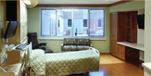Large and comfortable patient rooms welcome family members to Perham Health Hospital