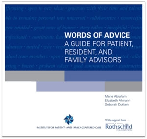 Words of Advice for Patient, Resident, and Family Advisors cover